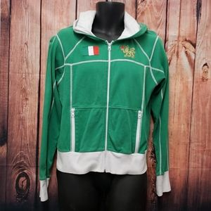 Roots italia hooded XL green zipper front jacket